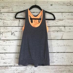 Nike Orange Purple Built in Open Back Workout Top
